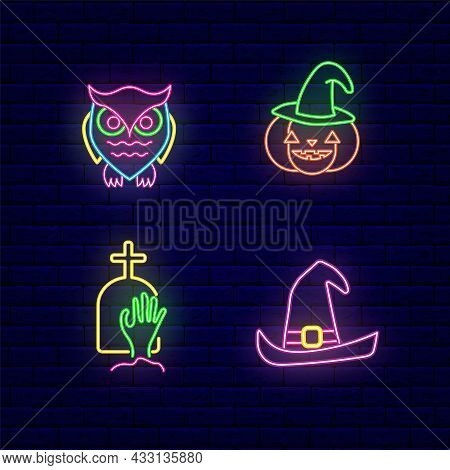 Halloween Neon Icons Collection. Owl And Pumpkin. Zombie Hand And Witch Hat. Night Bright Signboard.