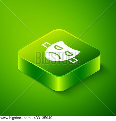 Isometric Drama Theatrical Mask Icon Isolated On Green Background. Green Square Button. Vector