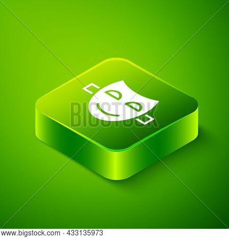 Isometric Comedy Theatrical Mask Icon Isolated On Green Background. Green Square Button. Vector