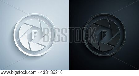 Paper Cut Camera Shutter Icon Isolated On Grey And Black Background. Paper Art Style. Vector