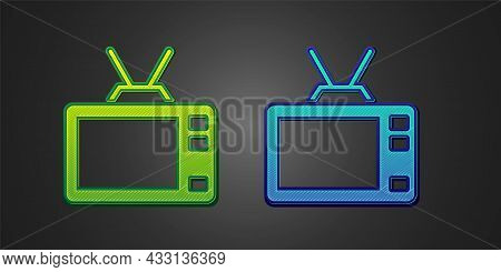 Green And Blue Retro Tv Icon Isolated On Black Background. Television Sign. Vector