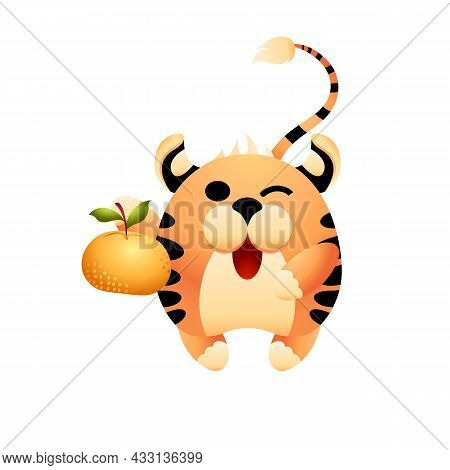 Cute Tiger, Symbol Of Chinese New Year 2022. Funny Character For An Advertising Banner Or Postcard.
