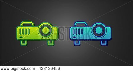 Green And Blue Presentation, Movie, Film, Media Projector Icon Isolated On Black Background. Vector