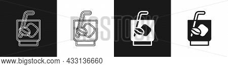 Set Espresso Tonic Coffee Icon Isolated On Black And White Background. Vector