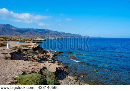 a view of the nortern coast of Aguilas, in the Costa Calida coast, Region of Murcia, Spain, highlighting the Calnegre mountain range in the background