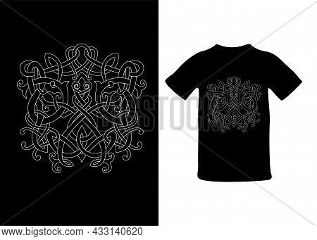 Frog In Viking Style, Celtic Pattern And Celtic Knot, Isolated On Black, Scandinavian Pattern Vector