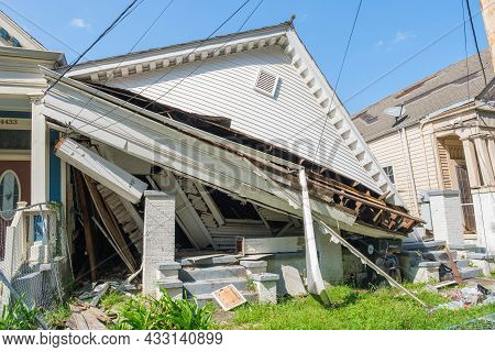 New Orleans, La - September 11: Front Of Collapsed House Following Hurricane Ida In Uptown Neighborh