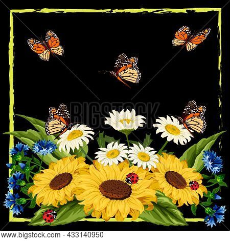 Frame With A Bouquet Of Flowers And Butterflies.sunflowers, Daisies, Cornflowers And Butterflies In