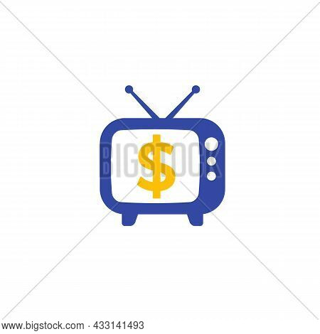 Old Tv With Dollar Symbol, Vector Logo