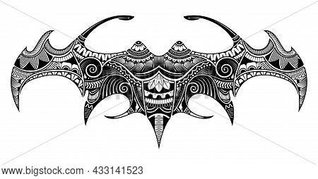 Manta Ray Tattoo Shape With Polynesian Style. Stingray Manta In The Maori Style.