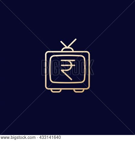 Old Tv With Rupee, Line Icon, Vector