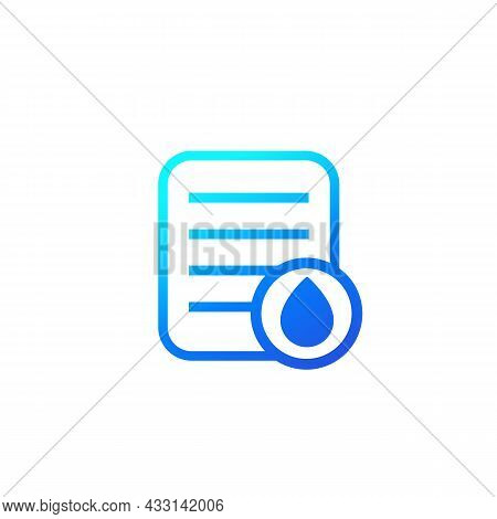 Water Utility Bill, Payment Icon On White