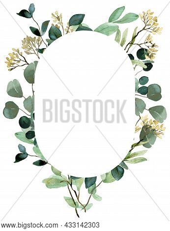 Watercolor Summer Greenery Template. Seeded Eucalyptus, Spring Greenery Frame. Wedding Floral Invita