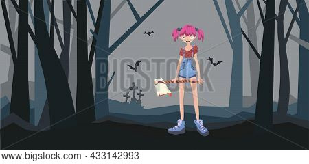 An Evil Girl With An Axe In A Cemetery In A Dark Forest. Helloween, Vector Illustration.
