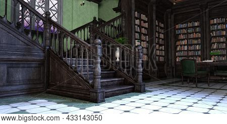 3d Rendering Of A Gothic Library Interior