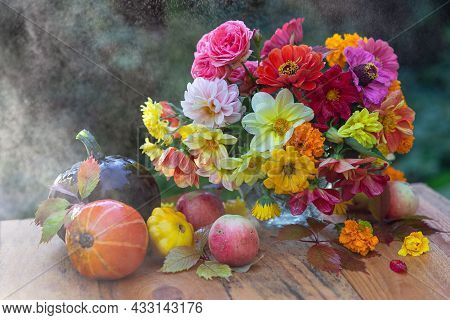 Autumn Concept. A Bouquet Of Beautiful Flowers In A Vase, Pumpkins And Apples In Colorful Leaves. Au