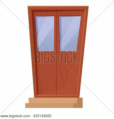 Modern Closed Wooden Door In Cartoon Style Isolated On White Background. Doorway From Glass And Wood