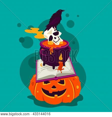 Halloween Mystic - Modern Cartoon Style Colored Poster