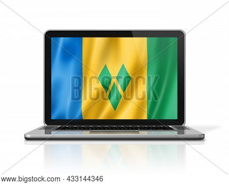 Saint Vincent And The Grenadines Flag On Laptop Screen Isolated On White. 3d Illustration Render.