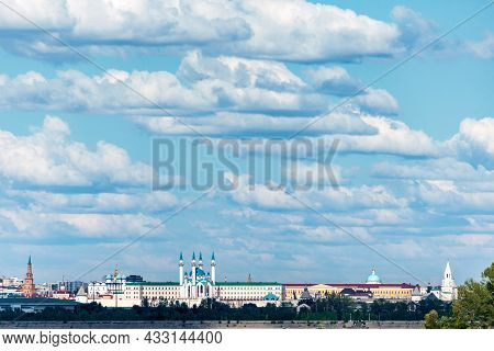 View Of The Kazan Kremlin, A Unesco World Heritage Site, From The Volga River With The Kul Sharif Mo