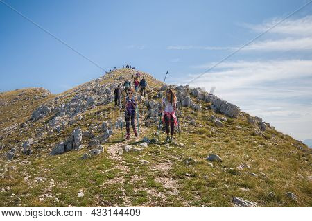 Monte Terminillo, Italy - September 11, 2021: View Of The Summit Of Mount Terminillo During Summer D