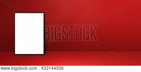Black Picture Frame Leaning On A Red Wall. Blank Mockup Template. Horizontal Banner