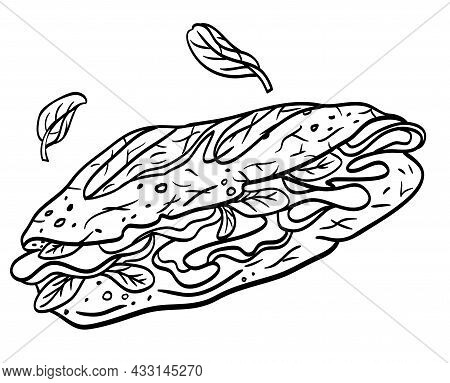 Ham Sandwich, Outline Black And White Illustration, Picture For Menu, Packaging, Label And Other Des