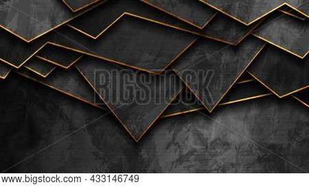 Abstract black and golden corporate geometric background