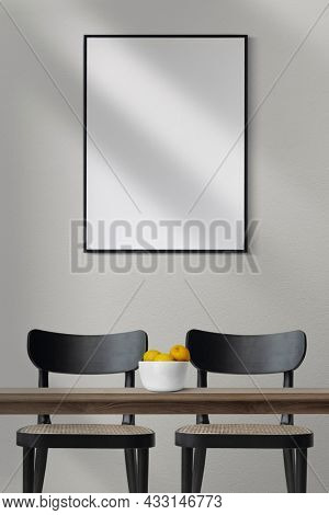 Modern dining room interior design with black chairs