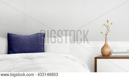 Minimal bedroom interior design in white tone