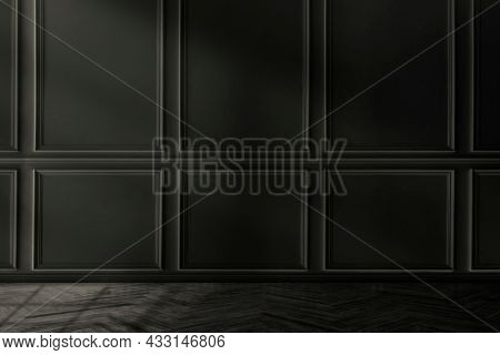 Empty luxury room with black wall
