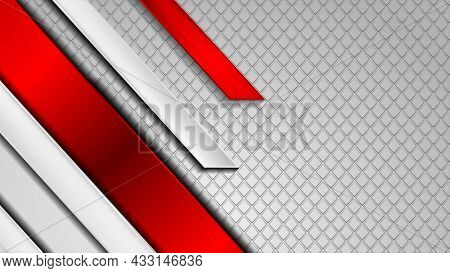 Red and grey abstract tech background with glossy stripes