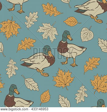 Vector Seamless Pattern With Wild Ducks And Autumn Leaves. Design With Drakes And Leaf Fall On Blue