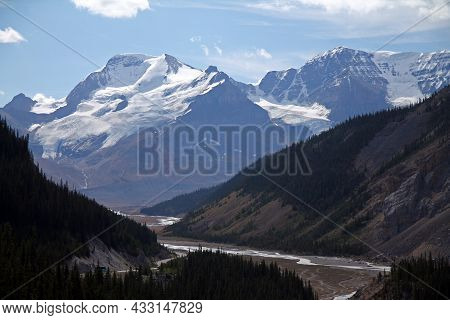 The Majestic Athabasca Glacier From The Icefield Skywalk Viewpoint In The Canadian Rockies