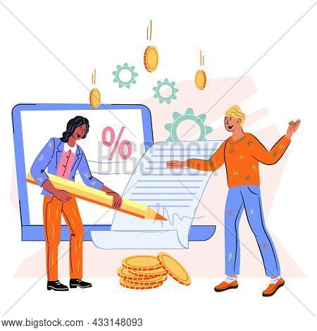 Online Digital Contract Signing With Business People Characters. Electronic Contract Or Digital Sign