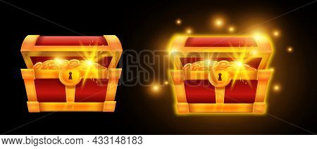 Gold Vector Chest, Pirate Coin Treasure Open Box, Glowing Money Pile Case, Game Ui App Icon, Sparks.