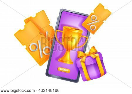 Online Reward Gift Vector Concept, 3d Bonus Loyalty Program Prize Concept, Smartphone Screen, Golden