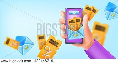 Loyalty Program Vector App Add, 3d Hand Holding Smartphone, Gift Voucher Bonus Reward, Open Envelope
