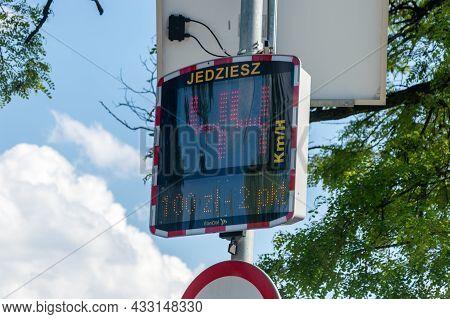 Zywiec, Poland - June 6, 2021: Speed Radar With Information About Speeding Penalty.