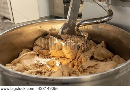 Industrial Mixer For Kneading Dough. One Of Stages Of Making Bread Dough. Preparation Of The Russian