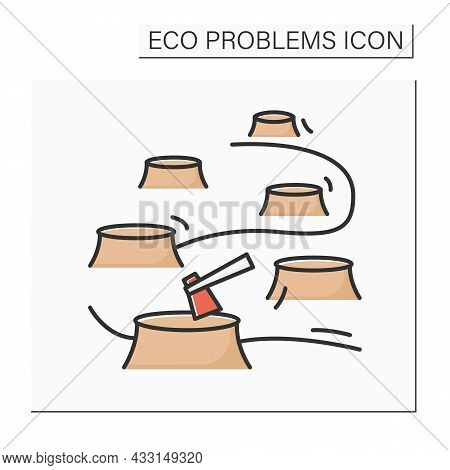 Deforestation Color Icon. Rain Forest Tree Cutting With Stubs And Lumber Axe. Concept Of Ozone Layer