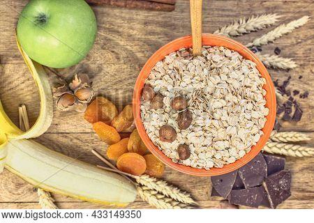 Oat Flakes, Nuts And Fruit In Healthy Diet, Healthy Vegetarian Breakfast