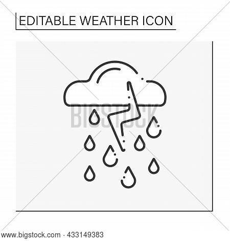 Storm Line Icon. Heavy Rain With Lightning And Thunder. Thunderstorm With Thunder Clouds. Bad Weathe