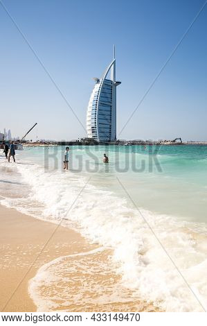 Dubai, United Arab Emirates - 08 December, 2018: View From The Beach Jumeira On Famous Seven Star Ho