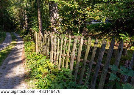 Old Destroyed Wooden Fence In Village In Beskid Slaski Mountains In Poland