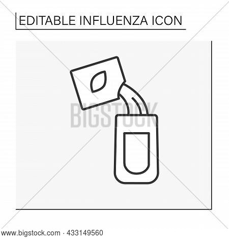 Treatment Line Icon. Special Anti-flu Powder. Flu Prevention.healthcare. Influenza Concept. Isolated