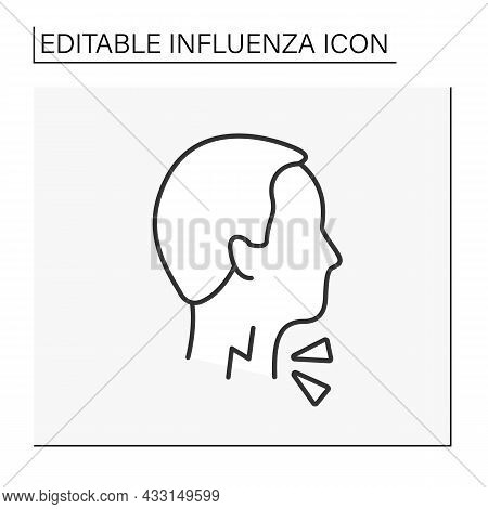 Sore Throat Line Icon. Pain From Swallowing Or Talking, Difficulty Swallowing, Irritation. Pharyngit