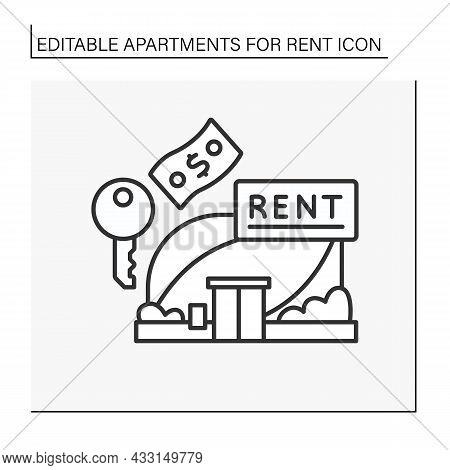 Lease Line Icon. Modern Building For Rent Office And House.fixed Amount Of Money. Apartment For Rent