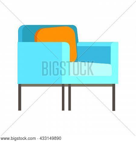 Retro Soft Armchair Upholstery Chair, Comfortable Seat, Lobby. Vector Flat Style Cartoon Illustratio