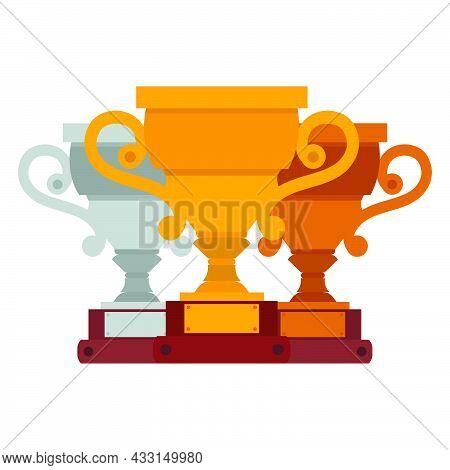 Cup Winner Golden Logo. Emblems Set And Idea Of Achieving Victory. Logo Competition Prize. Trophy In